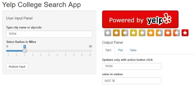 Yelp College Search - Shiny Based App - Journey of Analytics